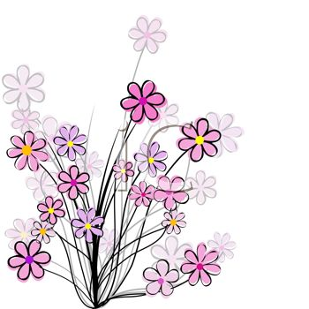 Royalty Free Clipart Image: Pretty Pink Wildflowers Drawing.
