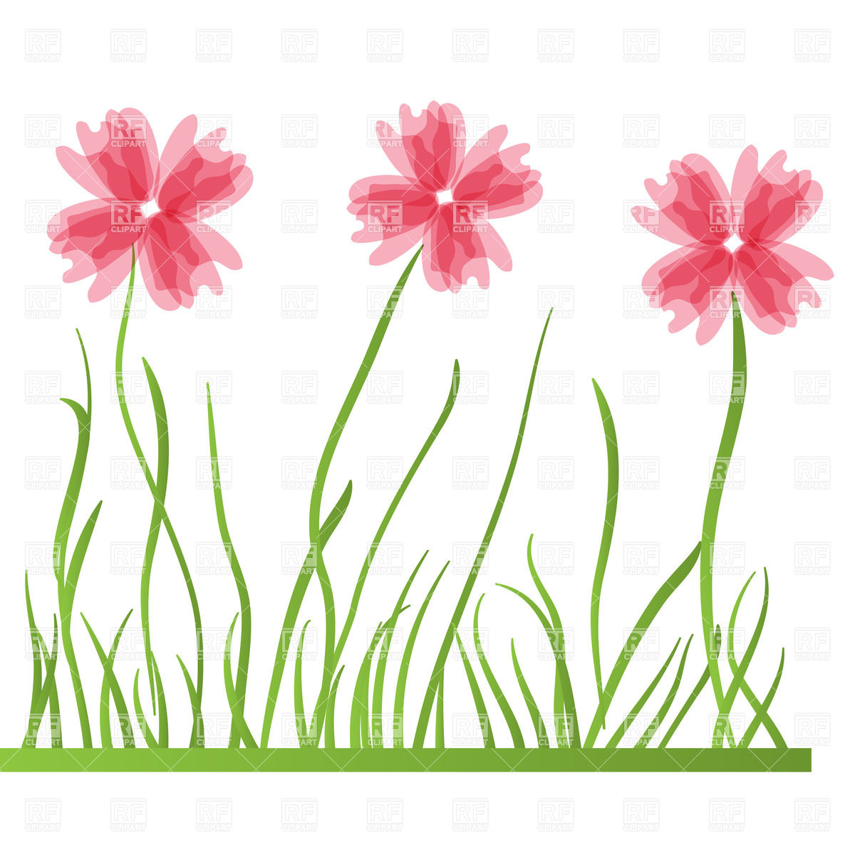 Stylized wildflowers on pink Vector Image #23851.