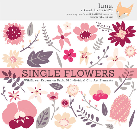 Valentine Clipart, Pink + Purple Wedding Wildflower Clipart.