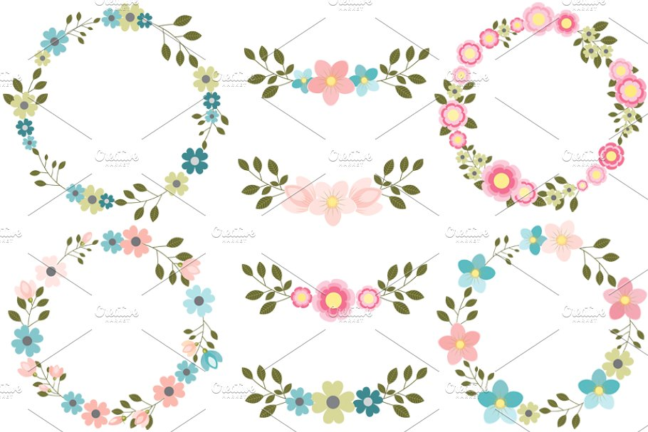 Pink and blue floral wreath clipart.