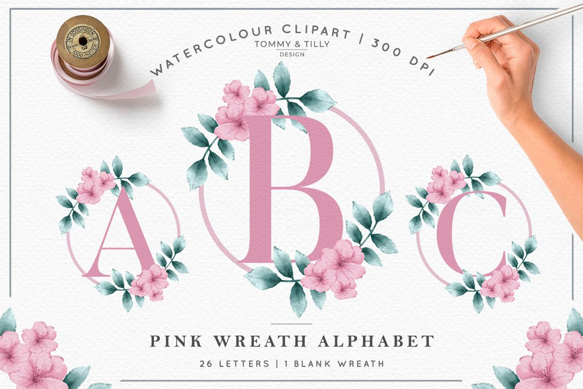 Watercolour Pink Wreath Alphabet.