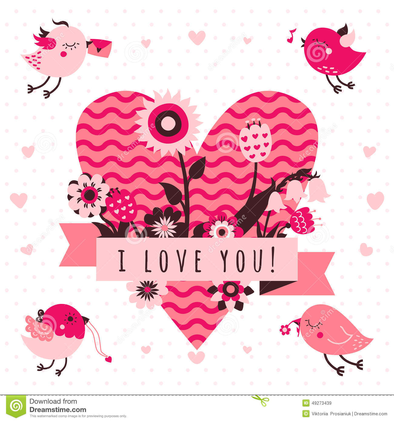 I Love You Vector Card (background) In Light And Dark Pink And.