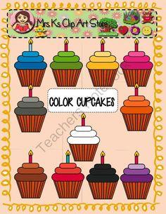 Pink brown green cupcake clipart.