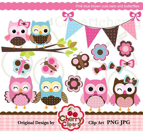 Pink blue brown cute owls and butterflies digital clipart set for.