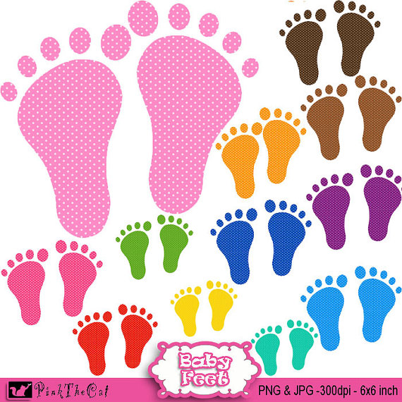 Baby Feet Clipart in Various Colors.