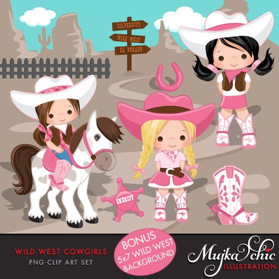 Wild West Cute Cowgirl Clipart.