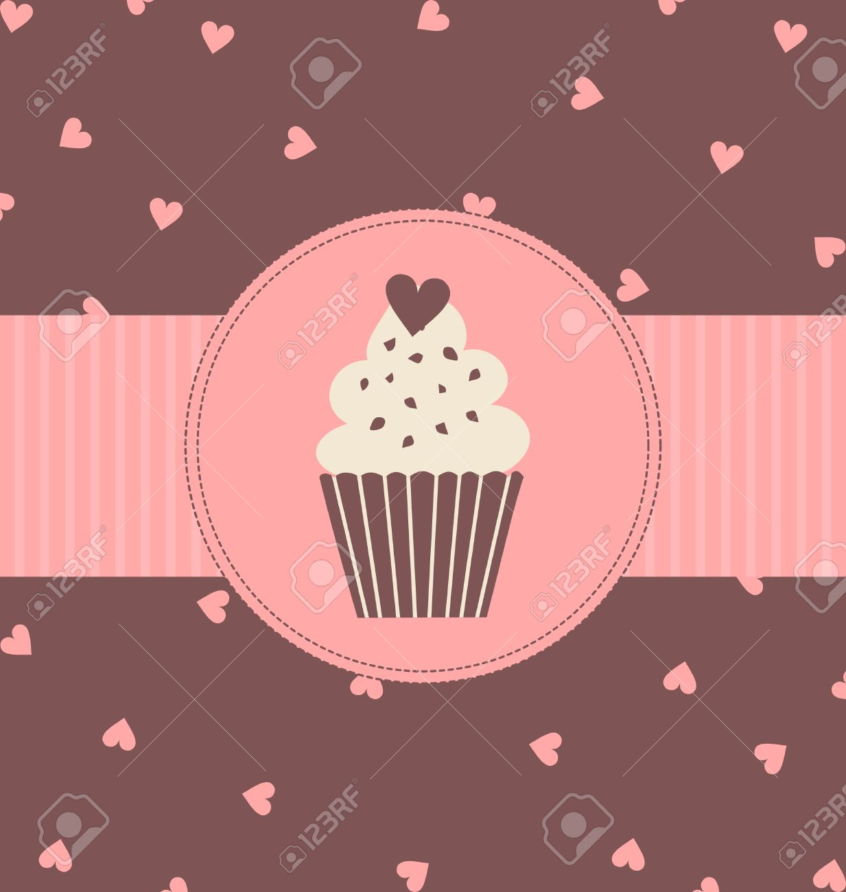 Illustration Of A Cute Cupcake In Pastel Pink And Brown Colors.