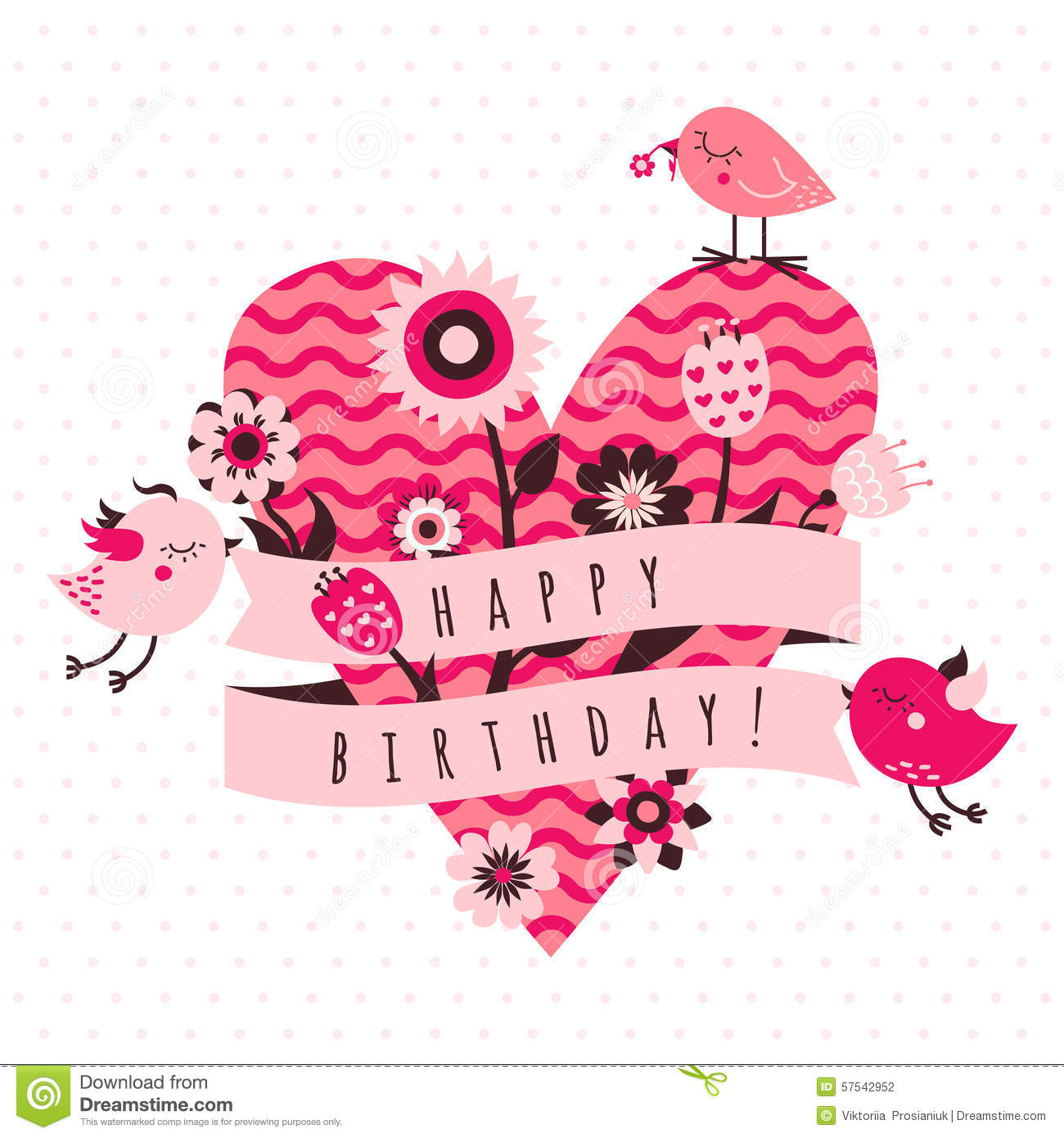 Happy Birthday Vector Card In Light And Dark Pink And Brown Colors.