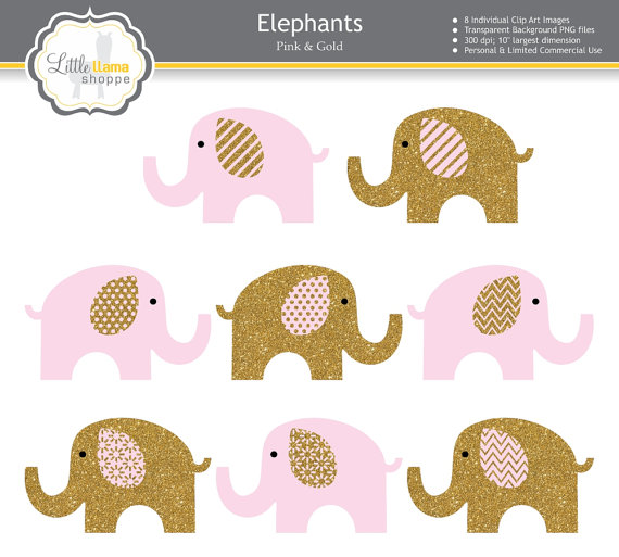 Pink & Gold Elephant Clipart, Pink and Gold Nursery Decor.