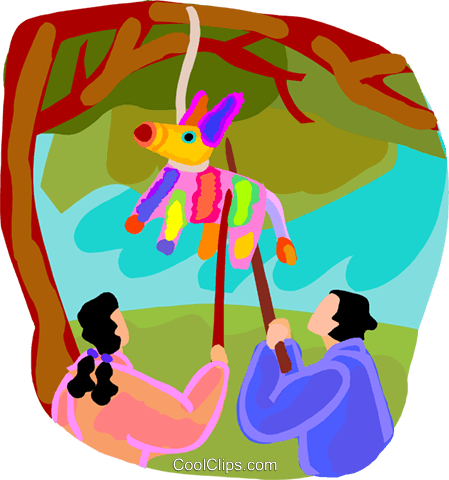 kids hitting a pinnate with sticks Royalty Free Vector Clip Art.