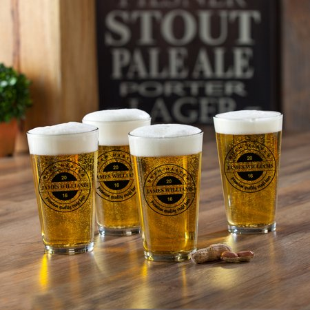 Personalized Pint Glasses Set of 4.
