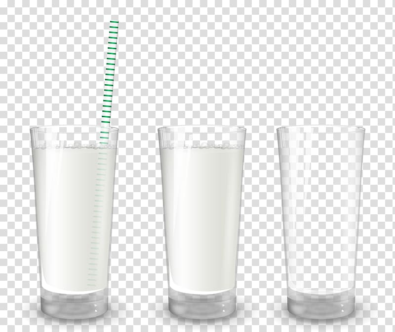 Highball glass Pint glass, realistic cup milk transparent.