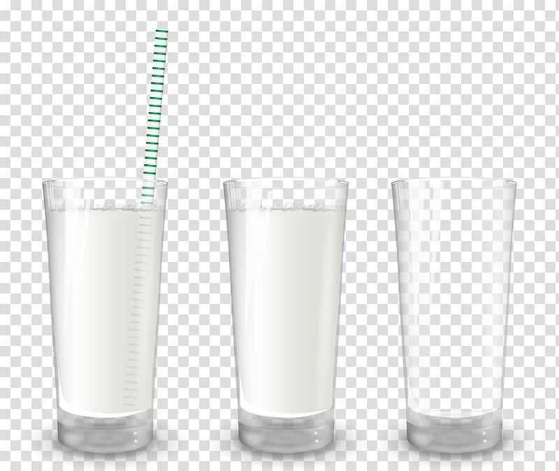 Highball glass Pint glass, realistic cup milk transparent.