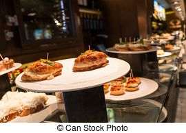 Stock Image of Spanish pintxo or pincho, montadito and tapas, from.