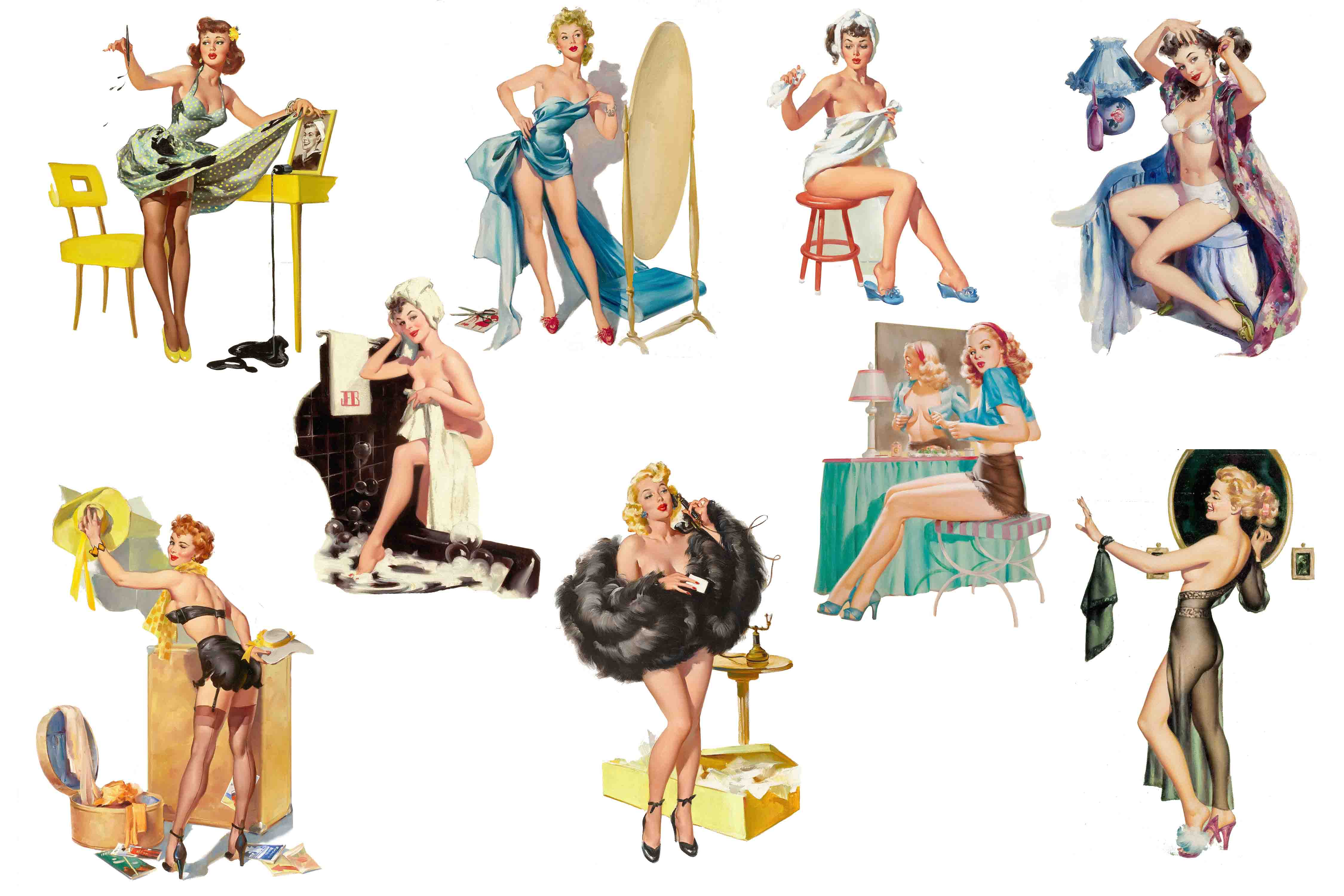 Pin Up Girls Clipart.