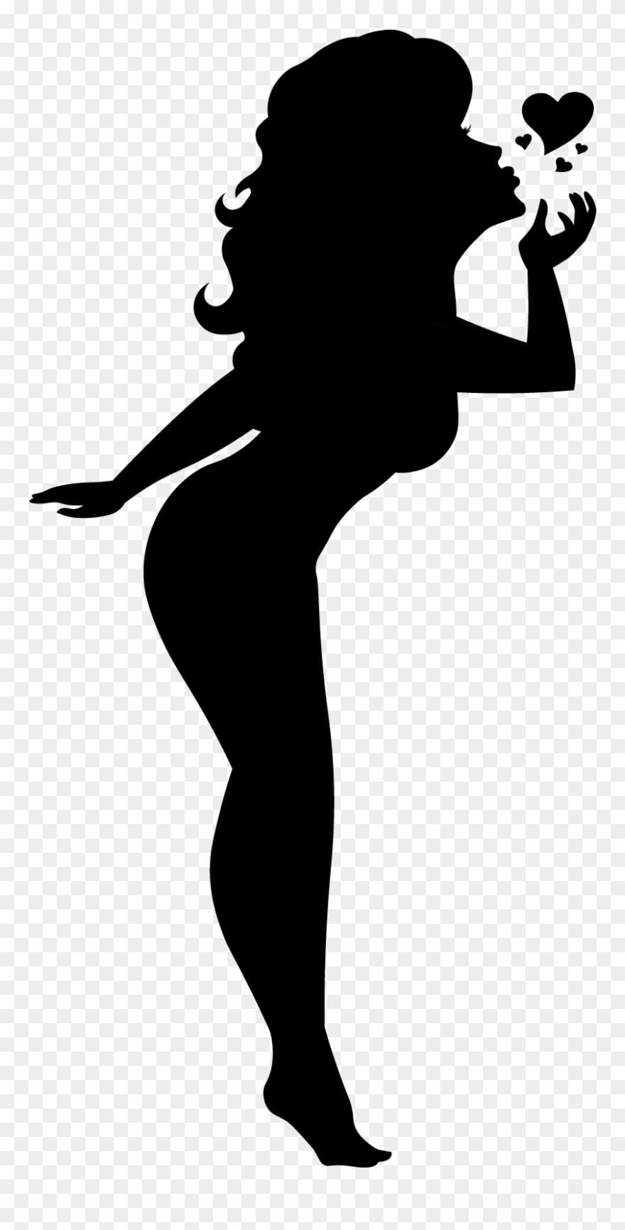 Blowing A Kiss Silhouette Pinup Girl Black Cutout Pin.