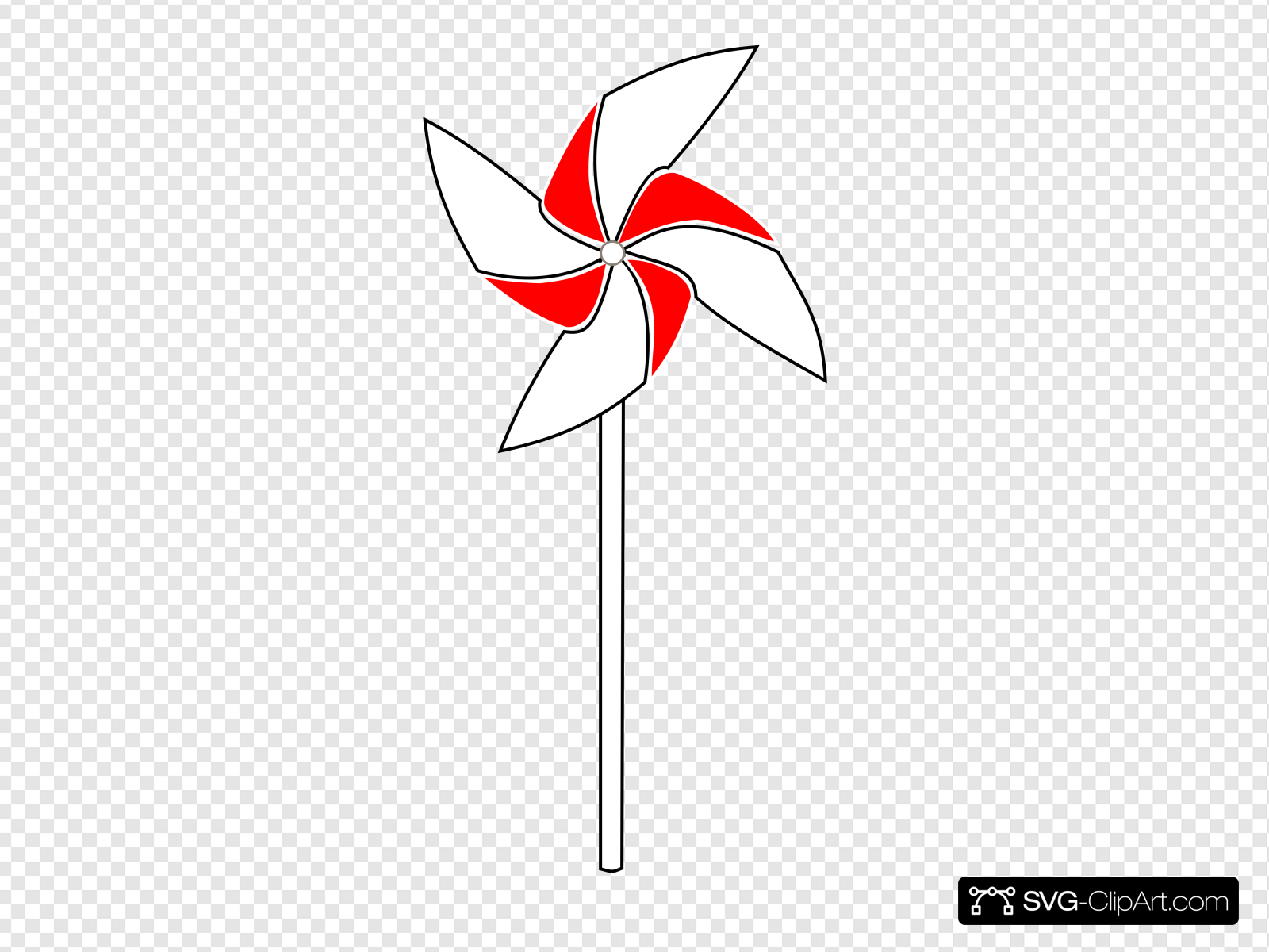 Red And White Pinwheel On Blank Background Clip art, Icon.