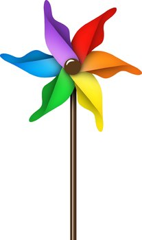 Pinwheels Clip Art: Colorful Rainbow Pinwheels Clipart Set.