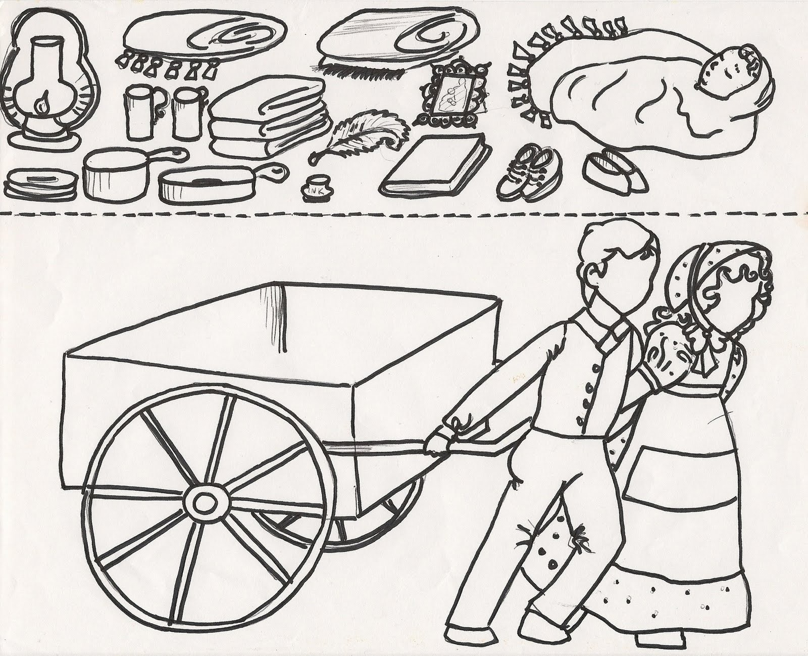 Pioneer Supplies Coloring Page, lds pioneer day clip art coloring.