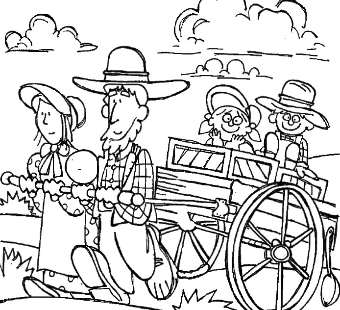 Clipart Pioneer Family Coloring Page.