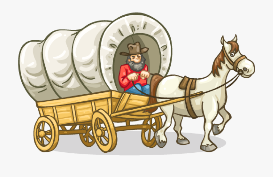 Clipart Pioneer Covered Wagon , Transparent Cartoon, Free.