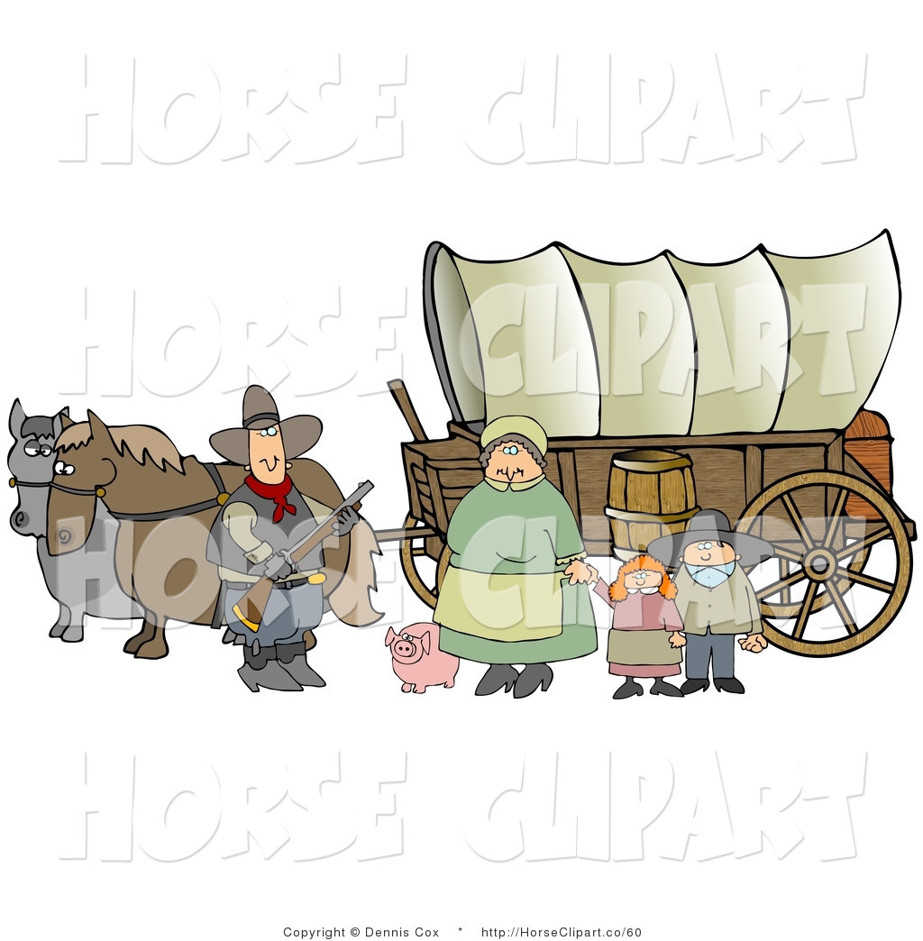 Clip Art of a Historical Family of Pioneer Settlers Standing.