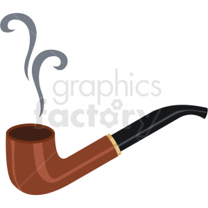 smoking pipe vector flat icon clipart with no background . Royalty.