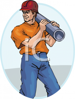 A Construction Worker Carrying A Section Of Pipe Or Conduit.
