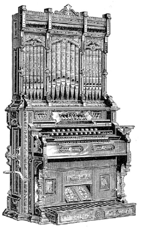 Man playing pipe organ clipart.