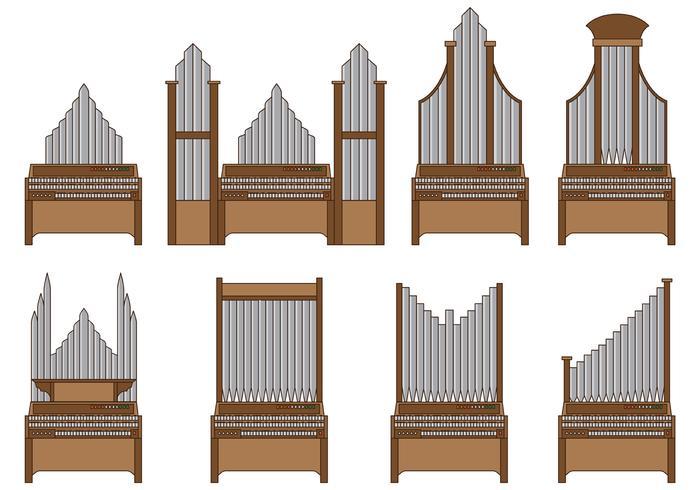 Set Of Pipe Organ Vector.