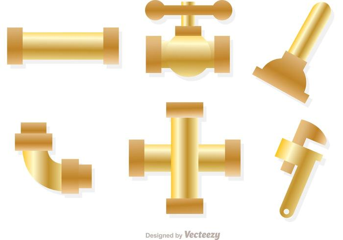 Gold Sewer Pipe Vectors.
