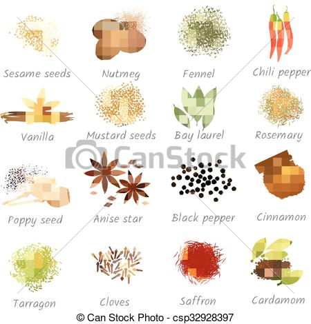 EPS Vectors of Icons Set Of Spices.