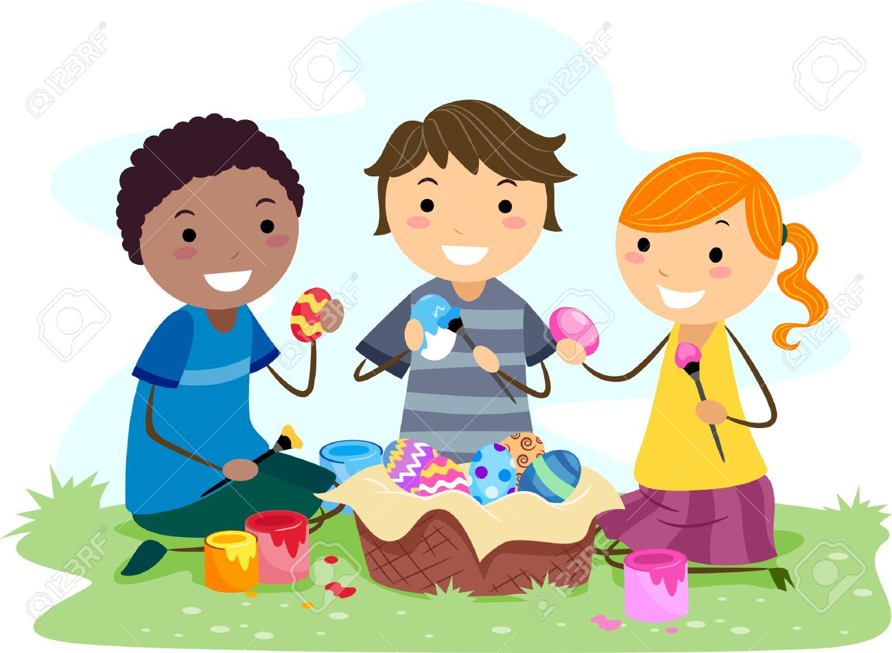 Illustration Of Kids Making Easter Eggs Stock Photo, Picture And.
