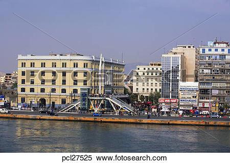 Stock Image of Athens, Piraeus Harbour, A View Of The Attiko Metro.