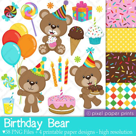 Birthday Bear Clip art and Digital paper set by pixelpaperprints.
