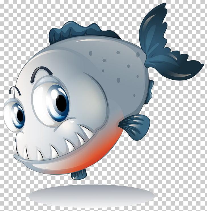 Piranha , Cartoon fish PNG clipart.