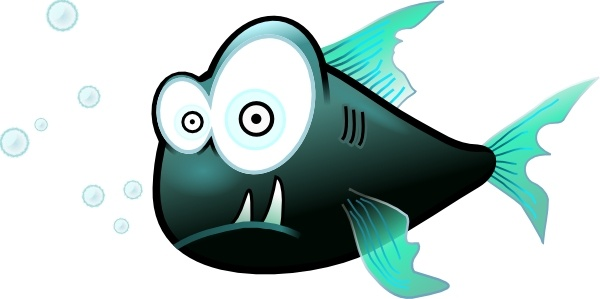 Cartoon Piranha Fish clip art Free vector in Open office.