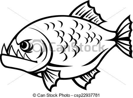 Piranha Clipart Black And White.