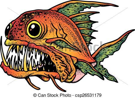 Clip Art Vector of Piranha.