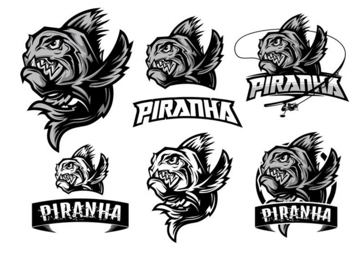 Premium Piranha Logo Element.