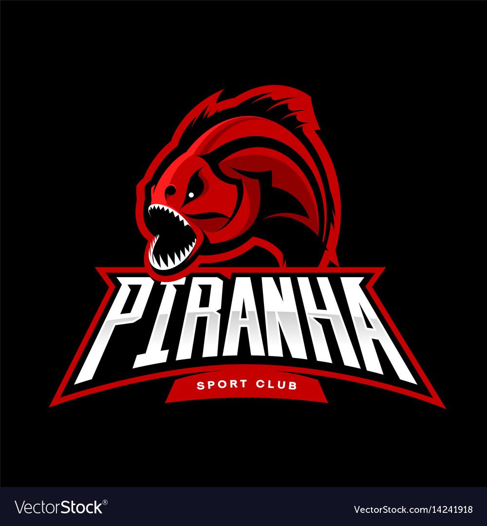 Furious piranha sport logo concept isolated.