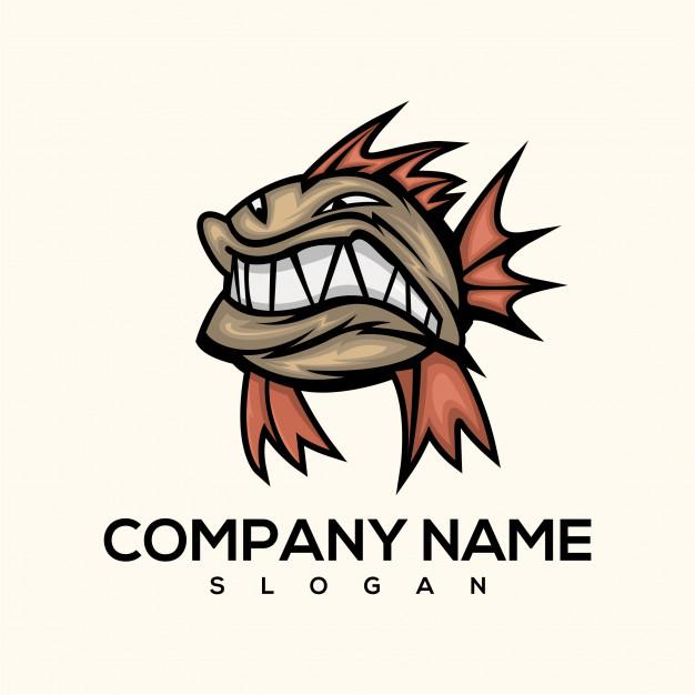 Piranha fish logo Vector.
