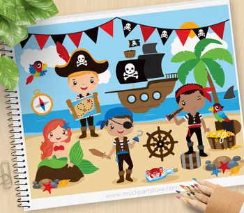 Boy Pirates Clipart, Mermaid, Pirate ship, Treasure (Background included!).
