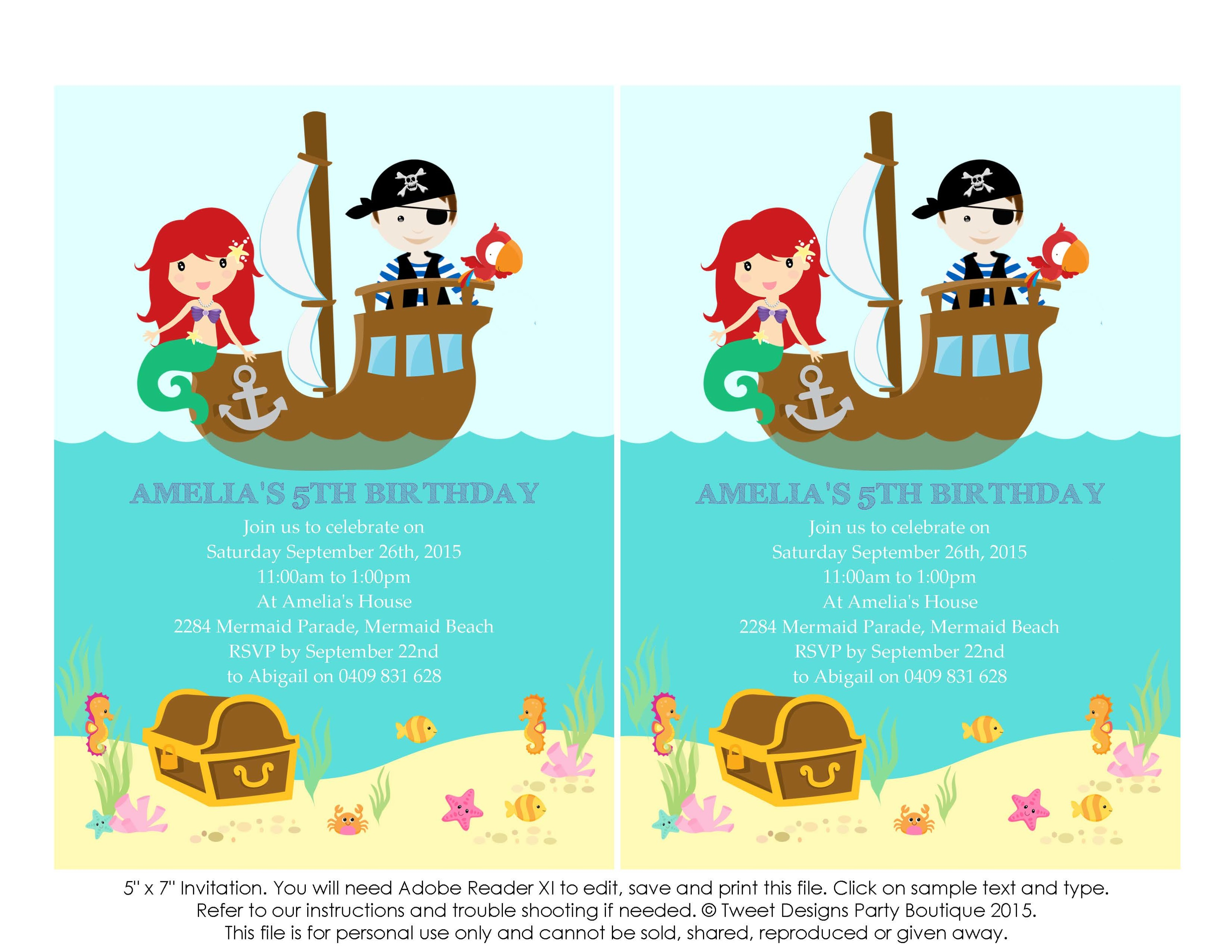 Mermaid and Pirate Party Invitation, Instant download Pirate.