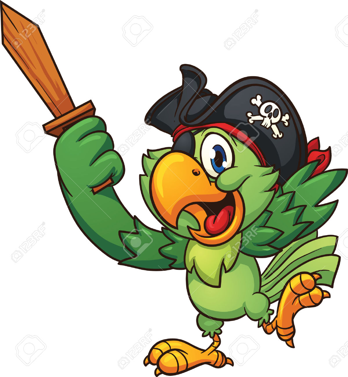 Pirate Parrot Holding A Wooden Sword. Vector Clip Art Illustration.