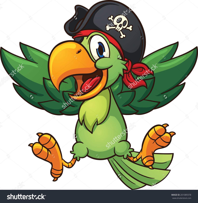 Happy Pirate Parrot Vector Clip Art Stock Vector 201089378.