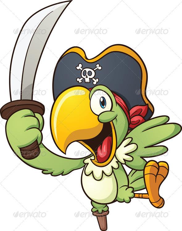 Clip Art Pirate Parrot Clipart.