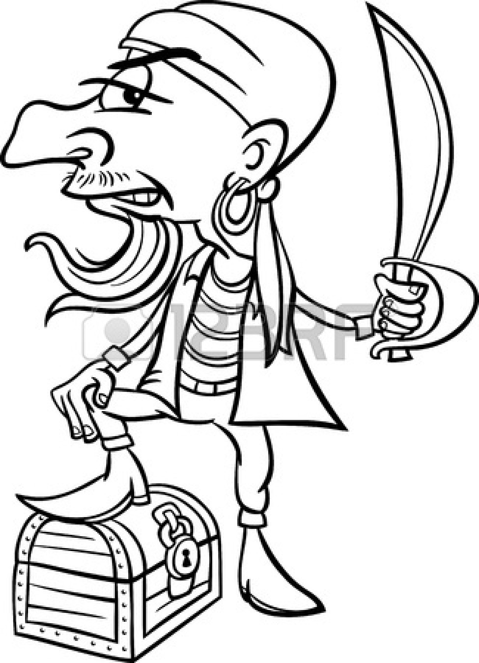 Pirate Treasure Black And White Clipart#1950109.