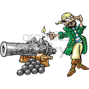 pirate lighting a cannon clipart. Royalty.