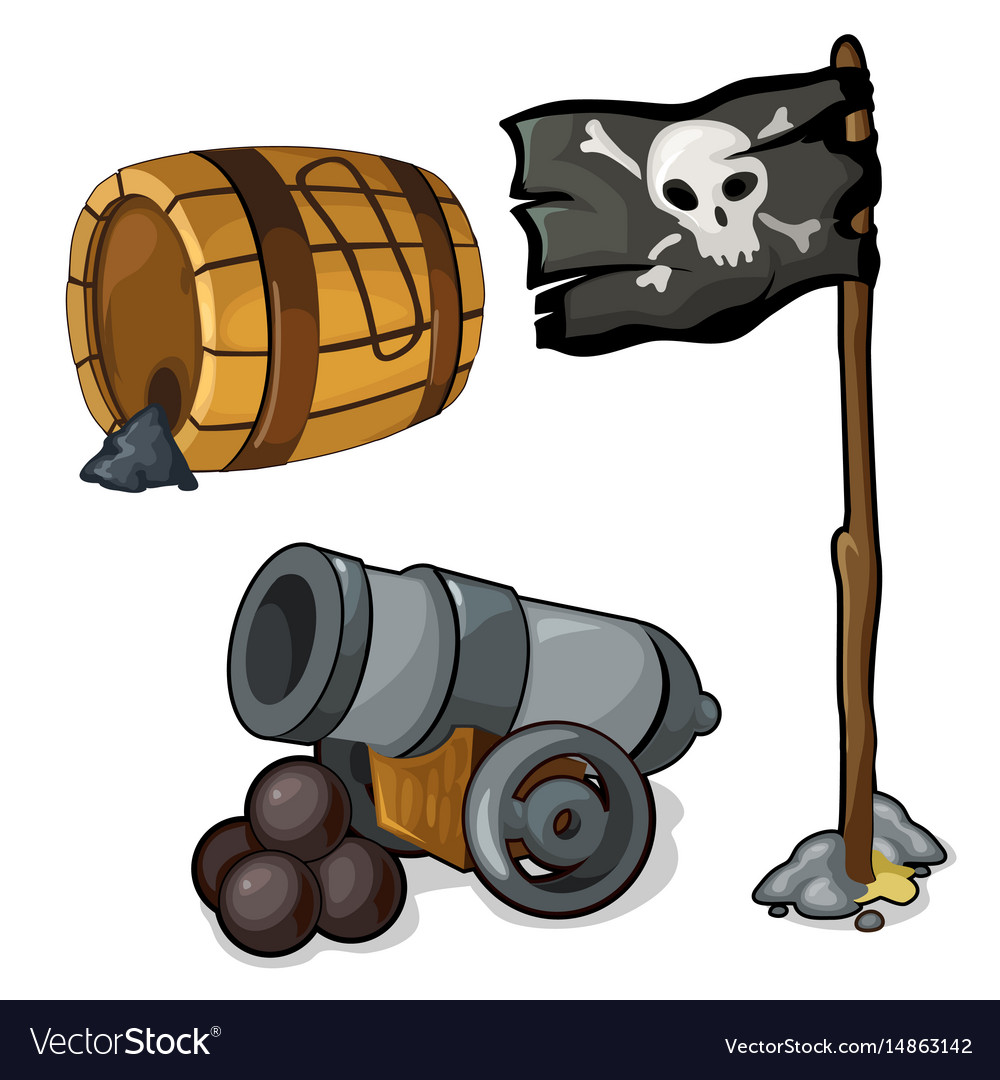 Wooden barrel of gunpowder cannon and pirate flag.